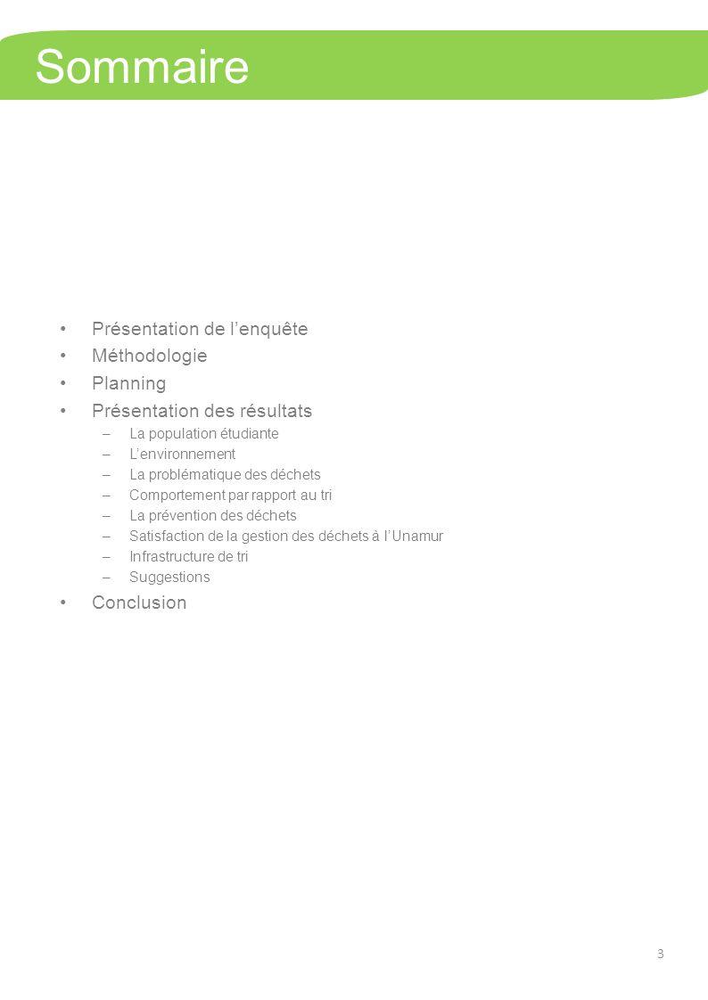Sommaire Présentation de lenquête Méthodologie Planning Présentation des résultats –La population étudiante –Lenvironnement –La problématique des déchets –Comportement par rapport au tri –La prévention des déchets –Satisfaction de la gestion des déchets à lUnamur –Infrastructure de tri –Suggestions Conclusion 3