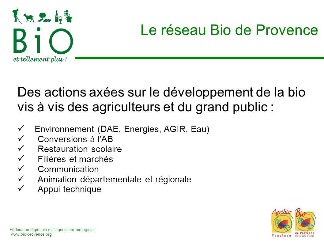 Fédération régionale de l'agriculture biologique www.bio-provence.org Des actions axées sur le développement de la bio vis à vis des agriculteurs et d