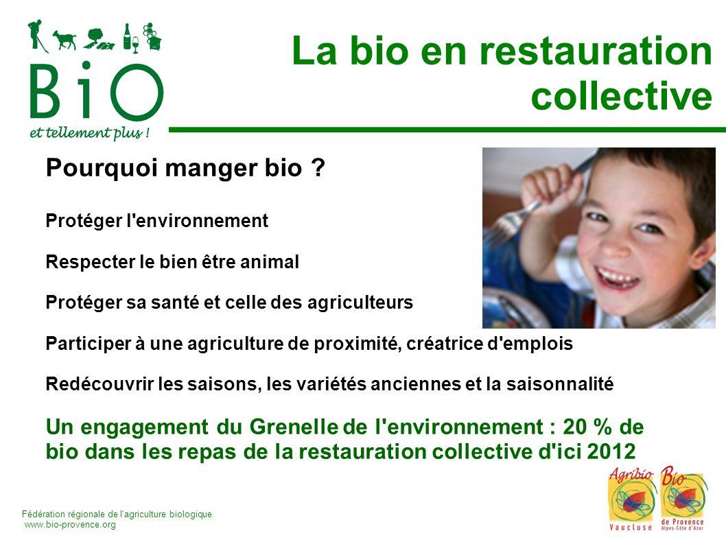Fédération régionale de l'agriculture biologique www.bio-provence.org La bio en restauration collective Pourquoi manger bio ? Protéger l'environnement