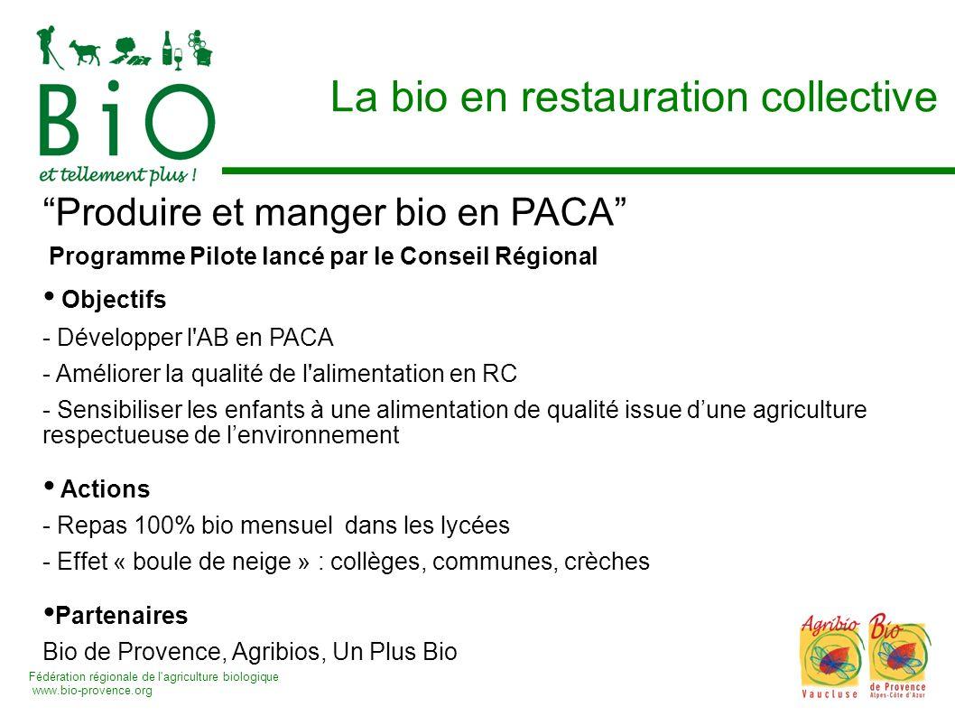 Fédération régionale de l'agriculture biologique www.bio-provence.org Produire et manger bio en PACA Programme Pilote lancé par le Conseil Régional Ob
