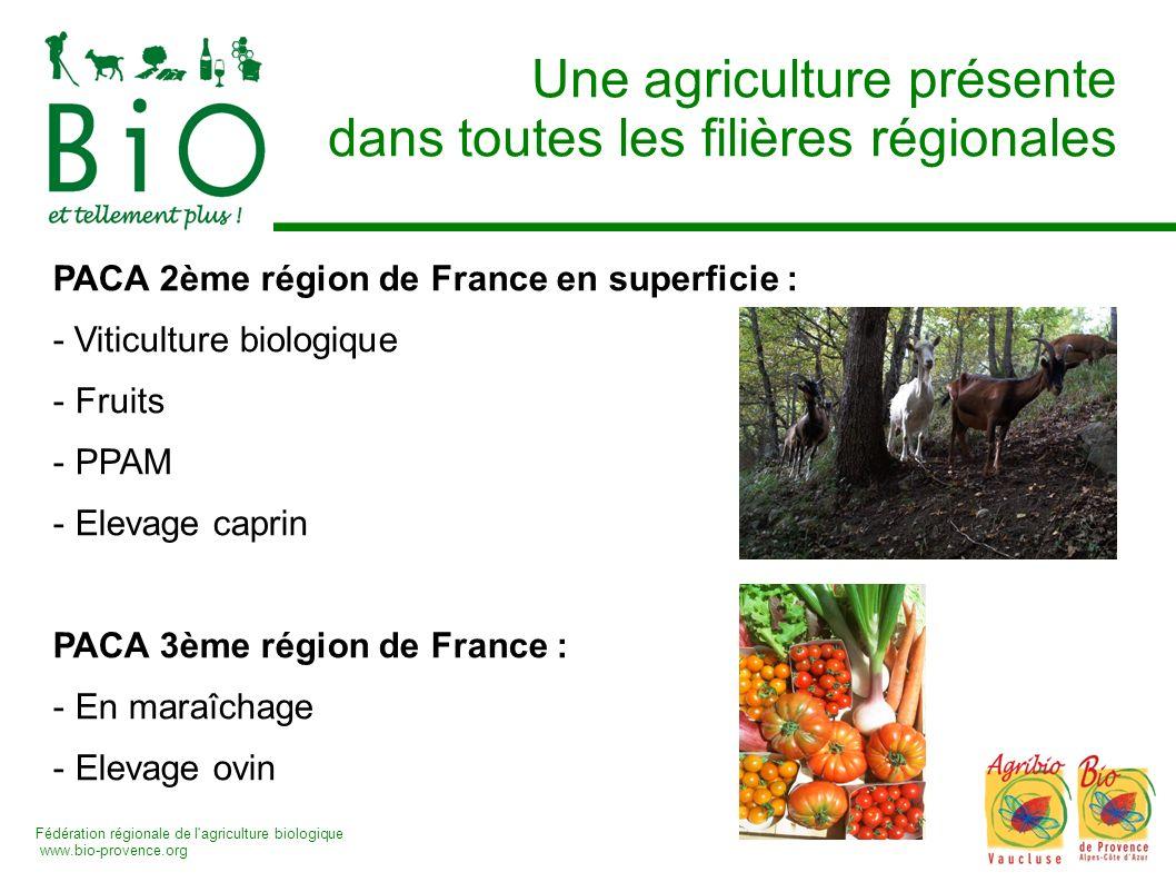 Fédération régionale de l'agriculture biologique www.bio-provence.org Une agriculture présente dans toutes les filières régionales PACA 2ème région de