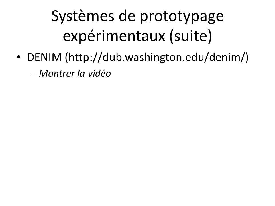 Systèmes de prototypage expérimentaux (suite) DENIM (http://dub.washington.edu/denim/) – Montrer la vidéo