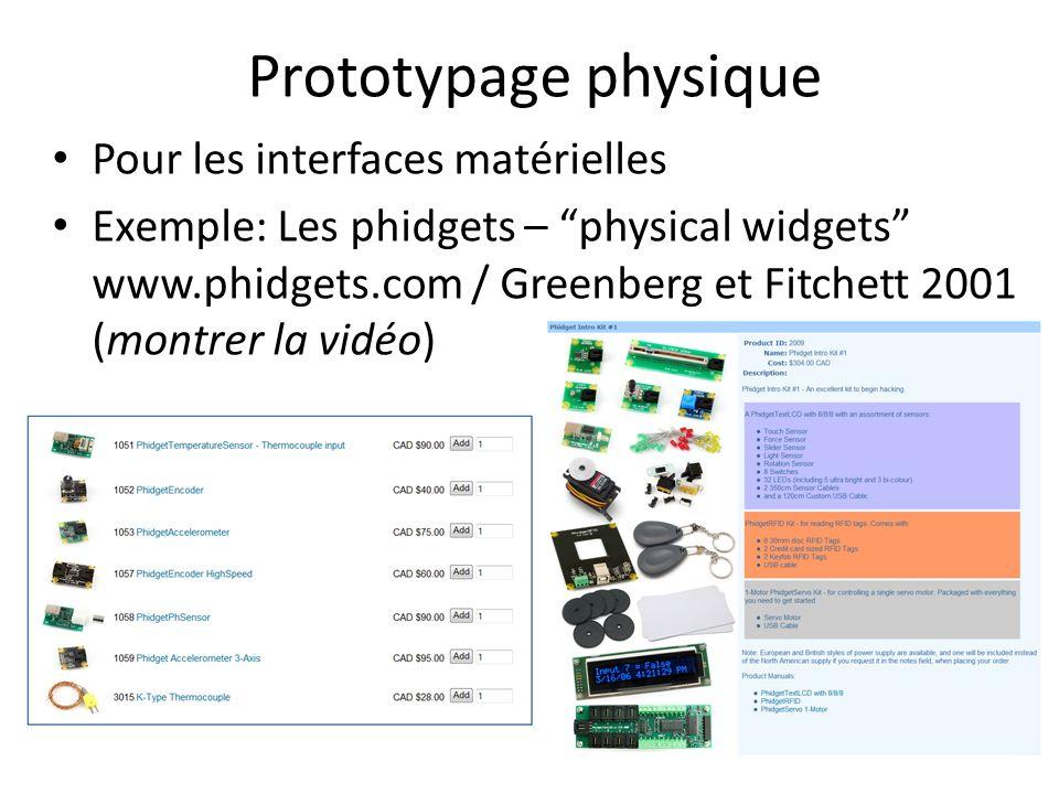 Prototypage physique Pour les interfaces matérielles Exemple: Les phidgets – physical widgets www.phidgets.com / Greenberg et Fitchett 2001 (montrer l