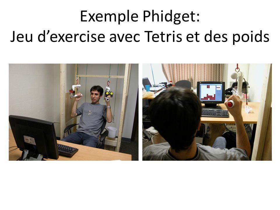 Exemple Phidget: Jeu dexercise avec Tetris et des poids