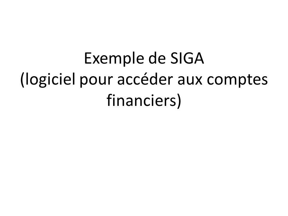 Exemple de SIGA (logiciel pour accéder aux comptes financiers)