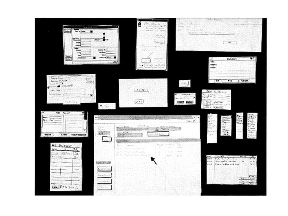 LOG350 A2006 Analyse, vision et domaine 76 Conception des fonctionnalités (widgets, interactions) On repart avec chaque tâche, en ordre d importance –On identifie des « boutons » (peut-être, en fait, des commandes de menu) pour les différentes opérations (traitement) à effectuer recherche, création, ajout, sauvegarde, efface, calcul, envoie, … –Les actions plus importantes / fréquentes, et moins dangeureuses (!) -> des boutons plus faciles à accéder