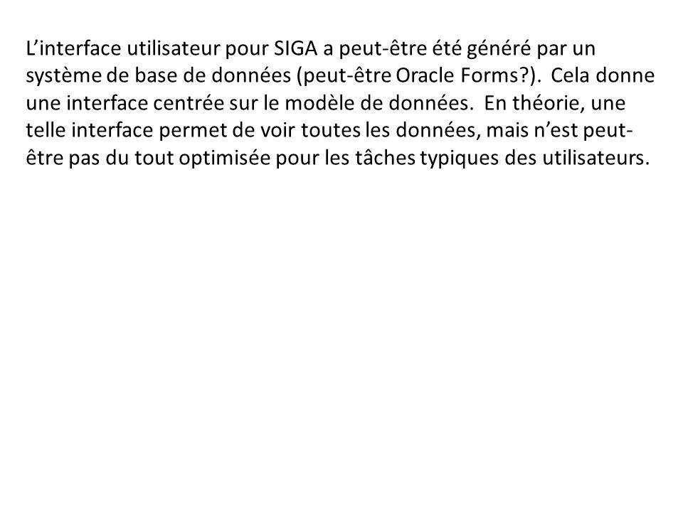 Linterface utilisateur pour SIGA a peut-être été généré par un système de base de données (peut-être Oracle Forms?). Cela donne une interface centrée