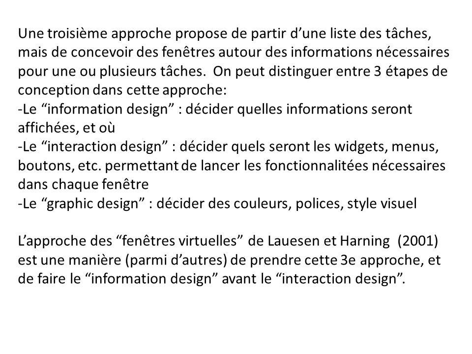 Une troisième approche propose de partir dune liste des tâches, mais de concevoir des fenêtres autour des informations nécessaires pour une ou plusieu
