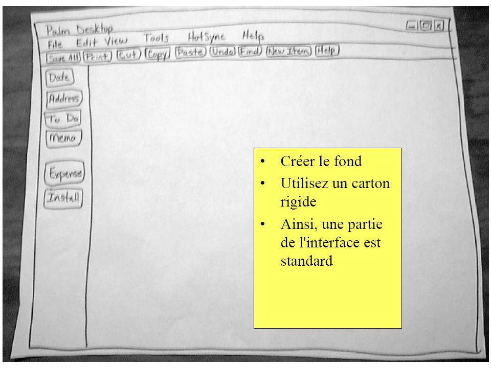 Cette deuxième approche, centrée sur les tâches, pourrait proposer une interface avec un menu principal qui permet de choisir la tâche: Vue densemble des comptes … Historique dun compte … Vue densemble des étudiants … Historique dun(e) étudiant(e) … Transfert entre comptes … Donner une bourse … On aurait alors une fenêtre ou un wizard pour chaque tâche, montrant seulement les informations nécessaires pour chaque tâche.