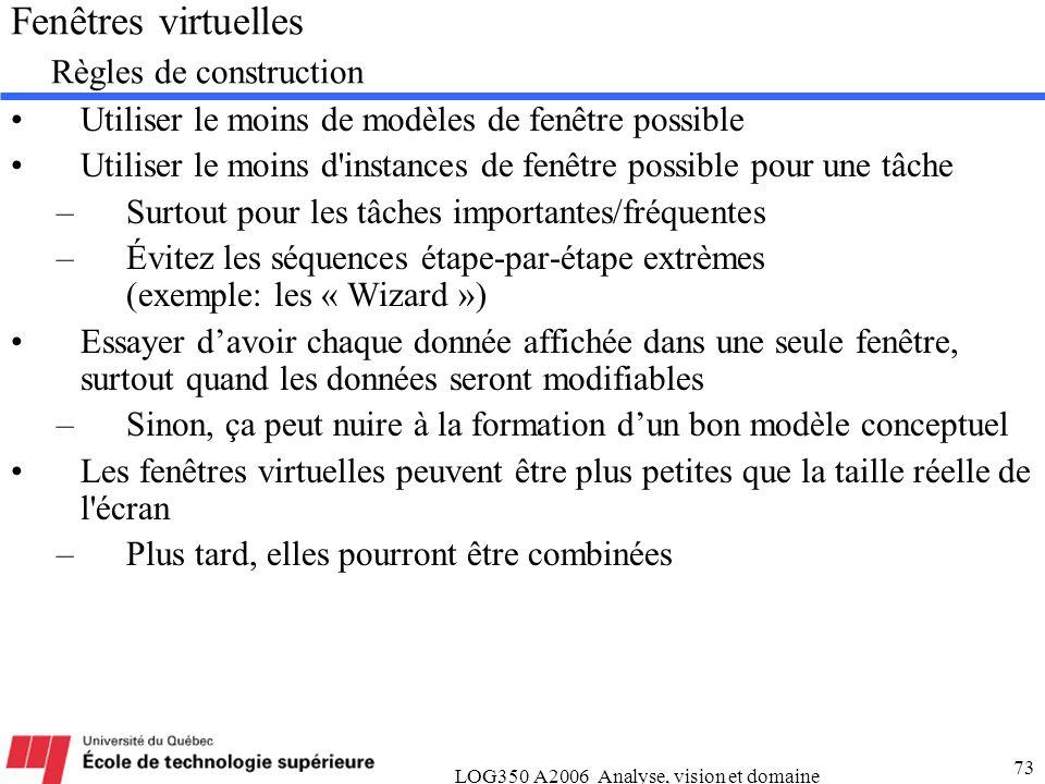 LOG350 A2006 Analyse, vision et domaine 73 Fenêtres virtuelles Règles de construction Utiliser le moins de modèles de fenêtre possible Utiliser le moi
