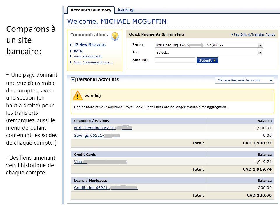 Comparons à un site bancaire: - Une page donnant une vue densemble des comptes, avec une section (en haut à droite) pour les transferts (remarquez aus