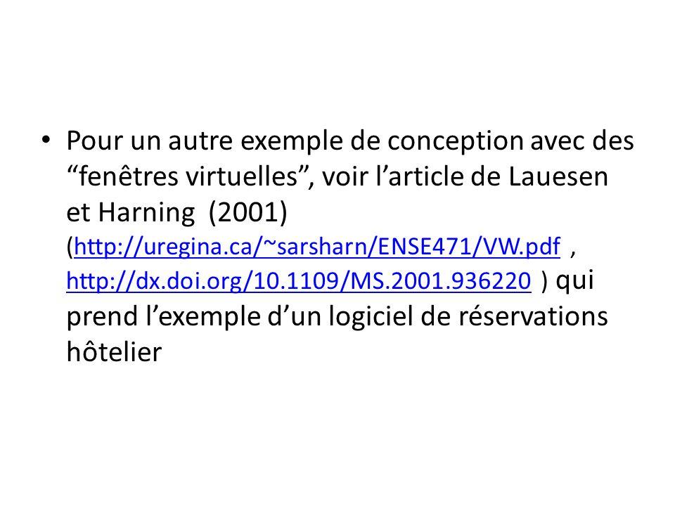 Pour un autre exemple de conception avec des fenêtres virtuelles, voir larticle de Lauesen et Harning (2001) (http://uregina.ca/~sarsharn/ENSE471/VW.p