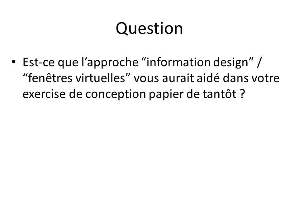 Question Est-ce que lapproche information design / fenêtres virtuelles vous aurait aidé dans votre exercise de conception papier de tantôt ?