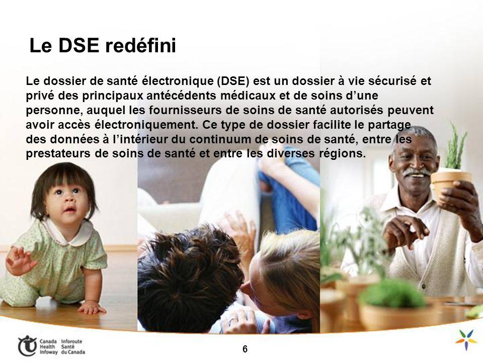 9 Le dossier de santé électronique (DSE) est un dossier à vie sécurisé et privé des principaux antécédents médicaux et de soins dune personne, auquel les fournisseurs de soins de santé autorisés peuvent avoir accès électroniquement.