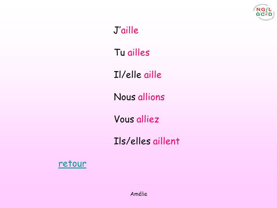 Amélie Jaille Tu ailles Il/elle aille Nous allions Vous alliez Ils/elles aillent retour