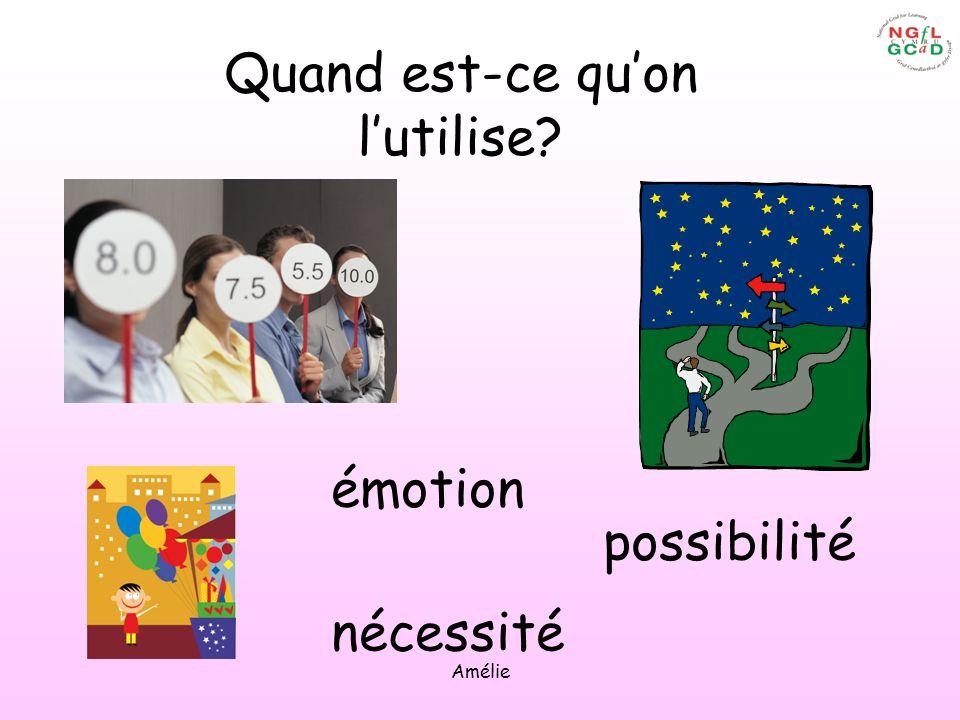 Amélie émotion possibilité nécessité Quand est-ce quon lutilise?