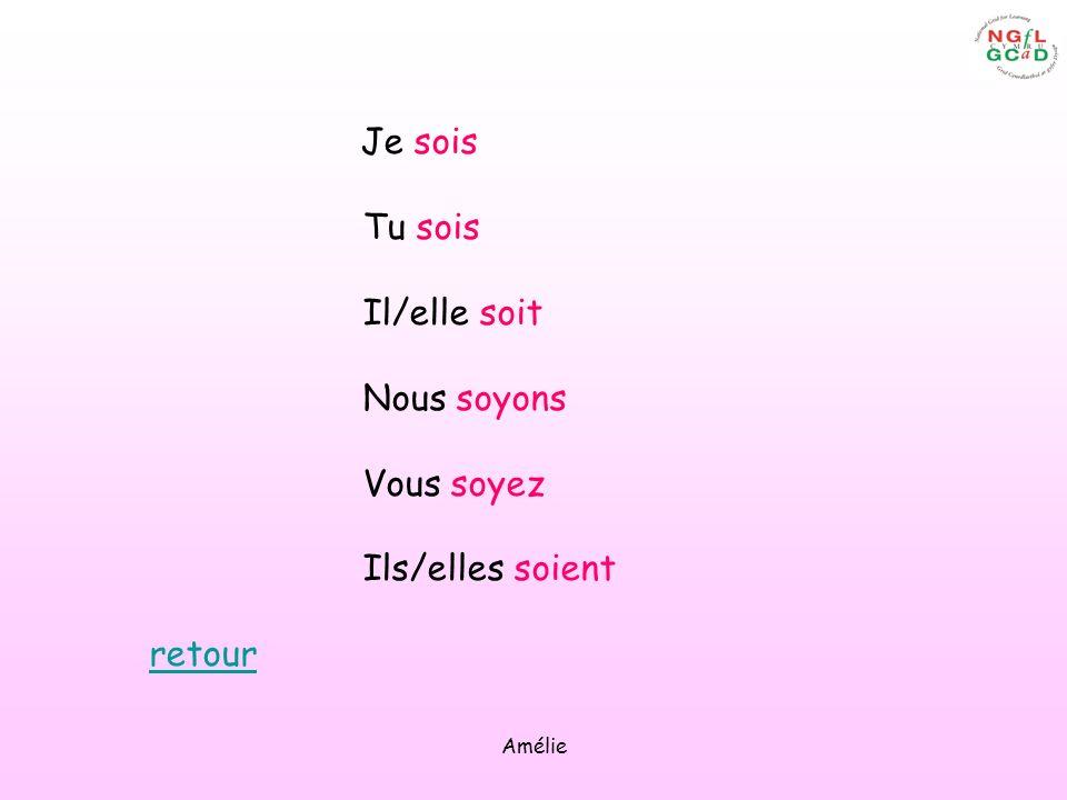 Amélie Je sois Tu sois Il/elle soit Nous soyons Vous soyez Ils/elles soient retour