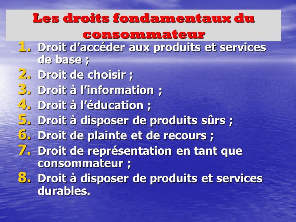 Les droits fondamentaux du consommateur 1. Droit daccéder aux produits et services de base ; 2.