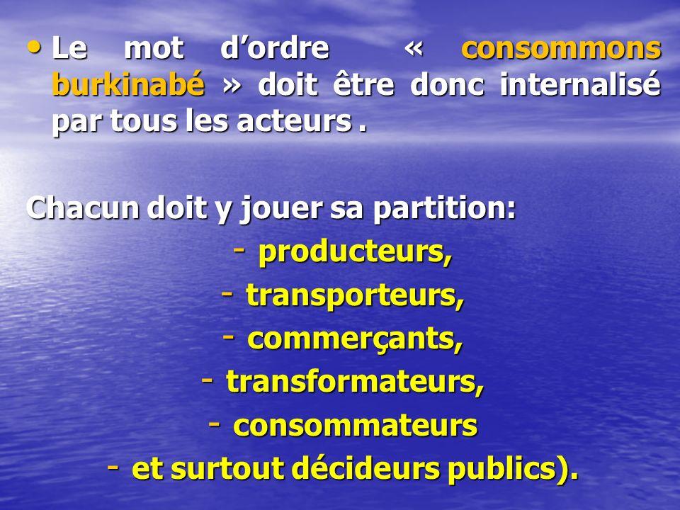 Le mot dordre « consommons burkinabé » doit être donc internalisé par tous les acteurs.