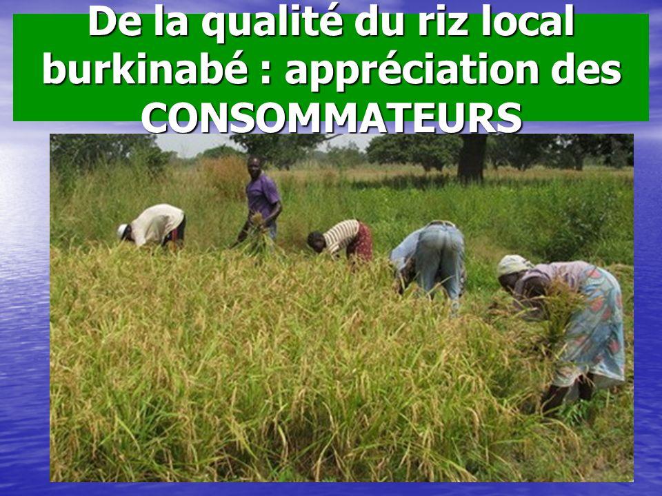 De la qualité du riz local burkinabé : appréciation des CONSOMMATEURS