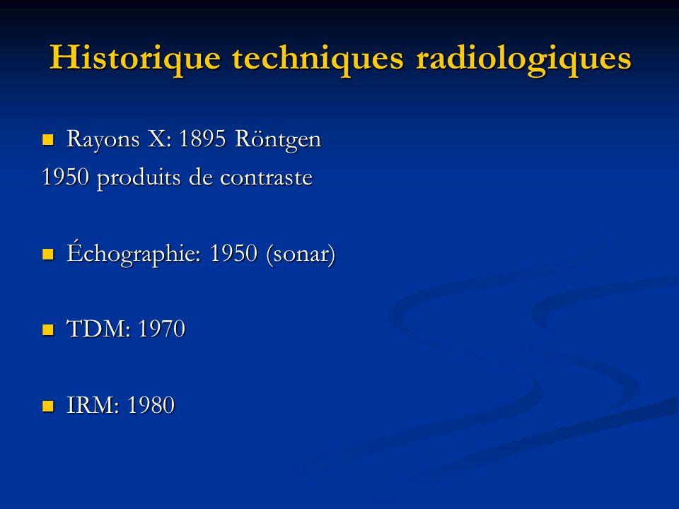 Historique techniques radiologiques Rayons X: 1895 Röntgen Rayons X: 1895 Röntgen 1950 produits de contraste Échographie: 1950 (sonar) Échographie: 19