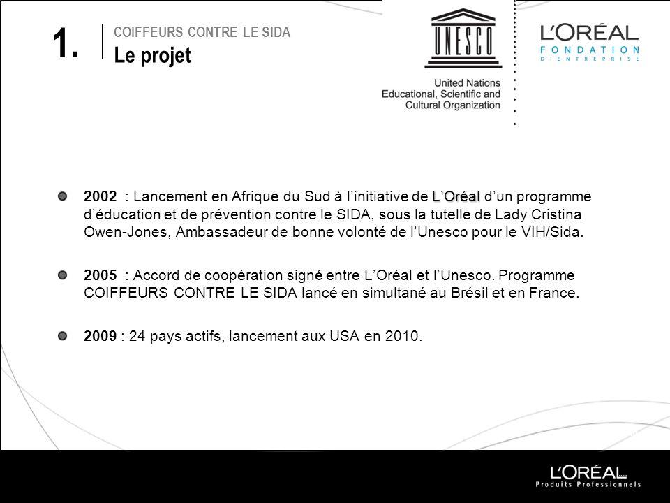 COIFFEURS CONTRE LE SIDA Le projet LOréal 2002 : Lancement en Afrique du Sud à linitiative de LOréal dun programme déducation et de prévention contre