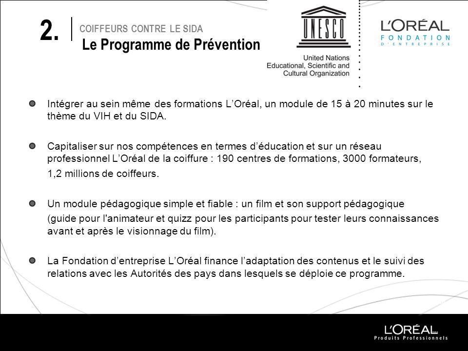 PROJETS 2010 COIFFEURS CONTRE LE SIDA Le Programme de Prévention Intégrer au sein même des formations LOréal, un module de 15 à 20 minutes sur le thèm
