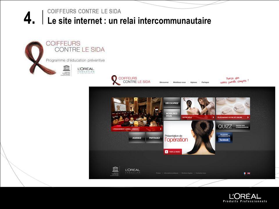 PROJETS 2010 COIFFEURS CONTRE LE SIDA Le site internet : un relai intercommunautaire 4.