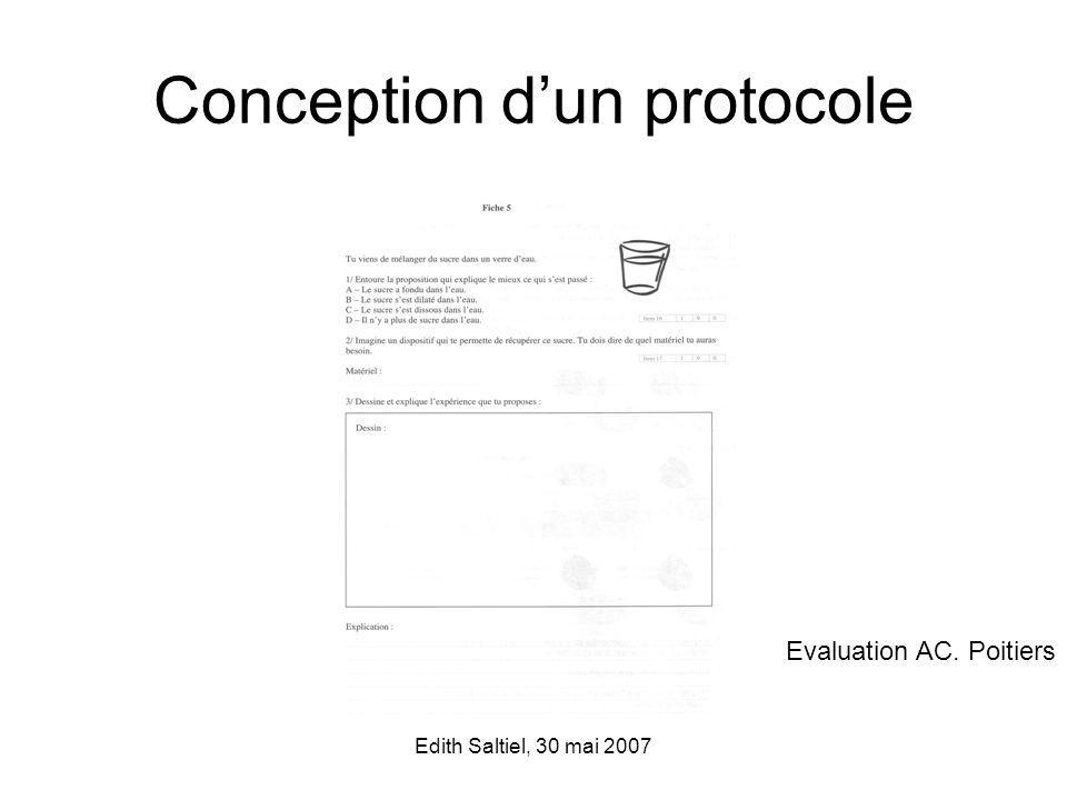 Edith Saltiel, 30 mai 2007 Conception dun protocole Evaluation AC. Poitiers