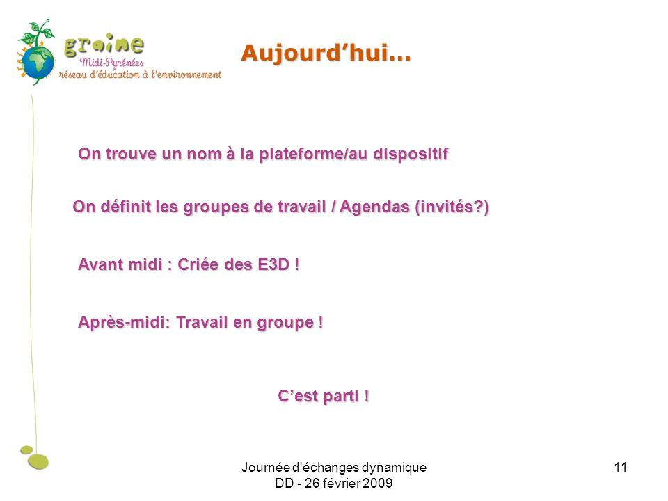 Journée d échanges dynamique DD - 26 février 2009 11 Aujourdhui… On trouve un nom à la plateforme/au dispositif On définit les groupes de travail / Agendas (invités ) Avant midi : Criée des E3D .