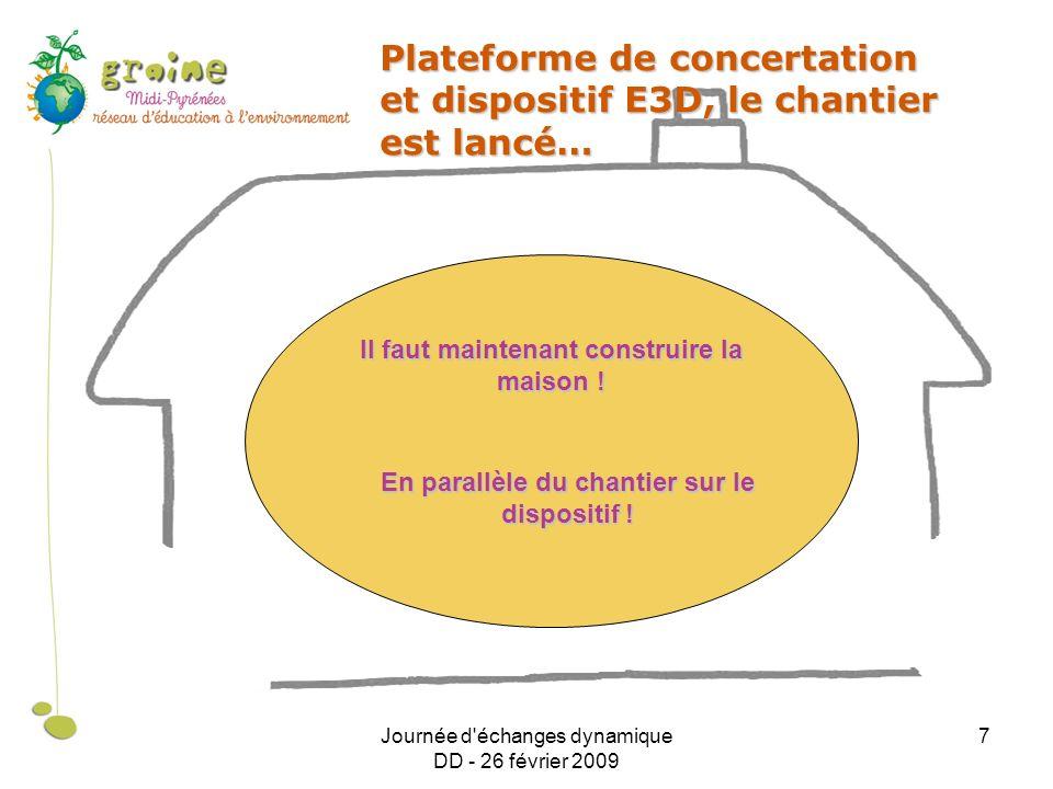 Journée d échanges dynamique DD - 26 février 2009 7 Plateforme de concertation et dispositif E3D, le chantier est lancé… Il faut maintenant construire la maison .