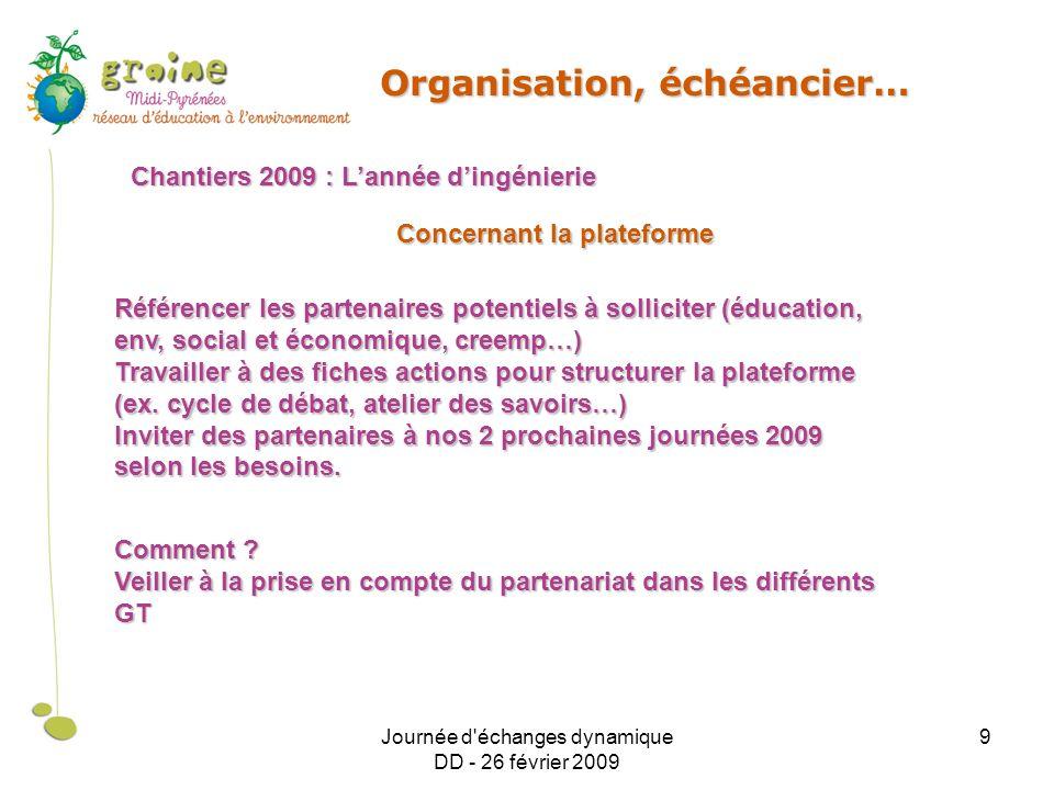Journée d'échanges dynamique DD - 26 février 2009 9 Organisation, échéancier… Chantiers 2009 : Lannée dingénierie Référencer les partenaires potentiel