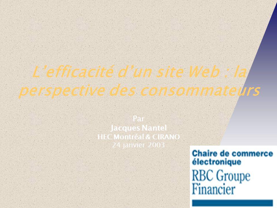 Lefficacité dun site Web : la perspective des consommateurs Par Jacques Nantel HEC Montréal & CIRANO 24 janvier 2003