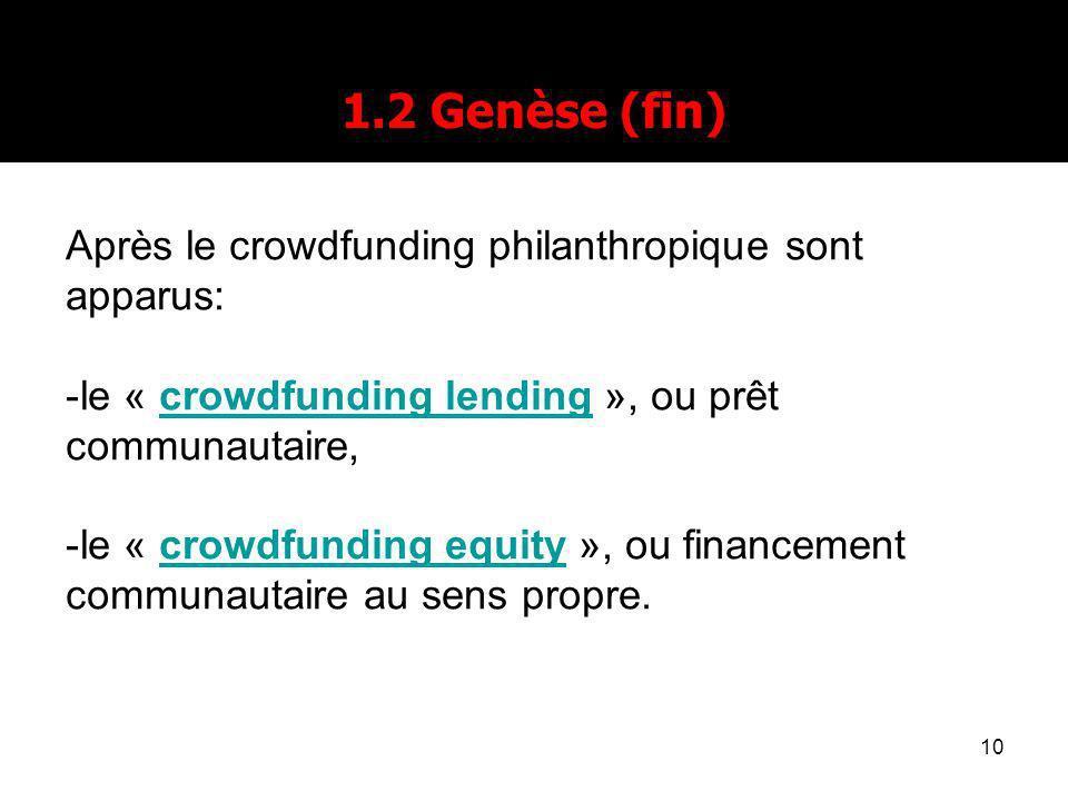 10 1.2 Genèse (fin) Après le crowdfunding philanthropique sont apparus: -le « crowdfunding lending », ou prêt communautaire,crowdfunding lending -le « crowdfunding equity », ou financement communautaire au sens propre.crowdfunding equity