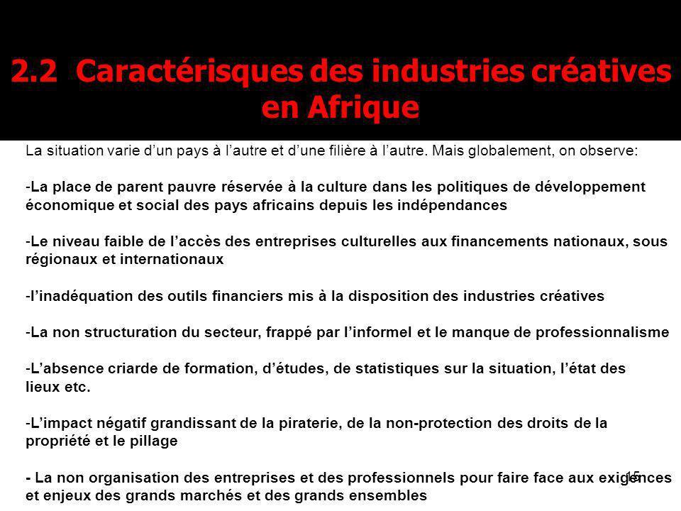 15 2.2 Caractérisques des industries créatives en Afrique La situation varie dun pays à lautre et dune filière à lautre. Mais globalement, on observe: