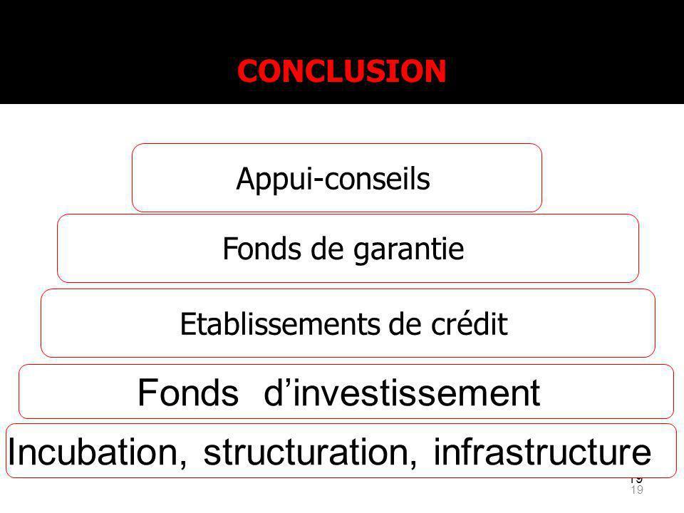 19 Fonds de garantie Etablissements de crédit Fonds dinvestissement CONCLUSION Incubation, structuration, infrastructure Appui-conseils