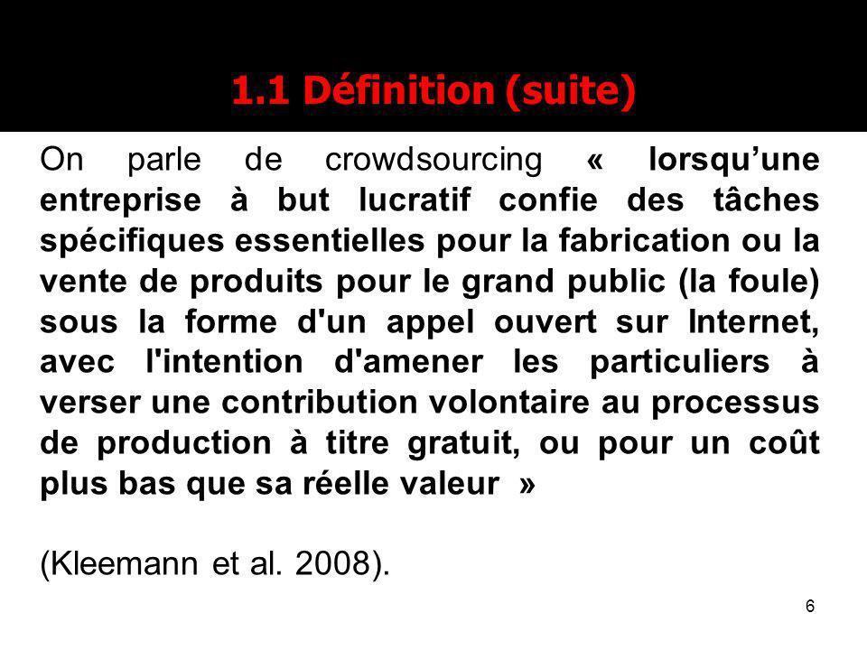 6 1.1 Définition (suite) On parle de crowdsourcing « lorsquune entreprise à but lucratif confie des tâches spécifiques essentielles pour la fabricatio