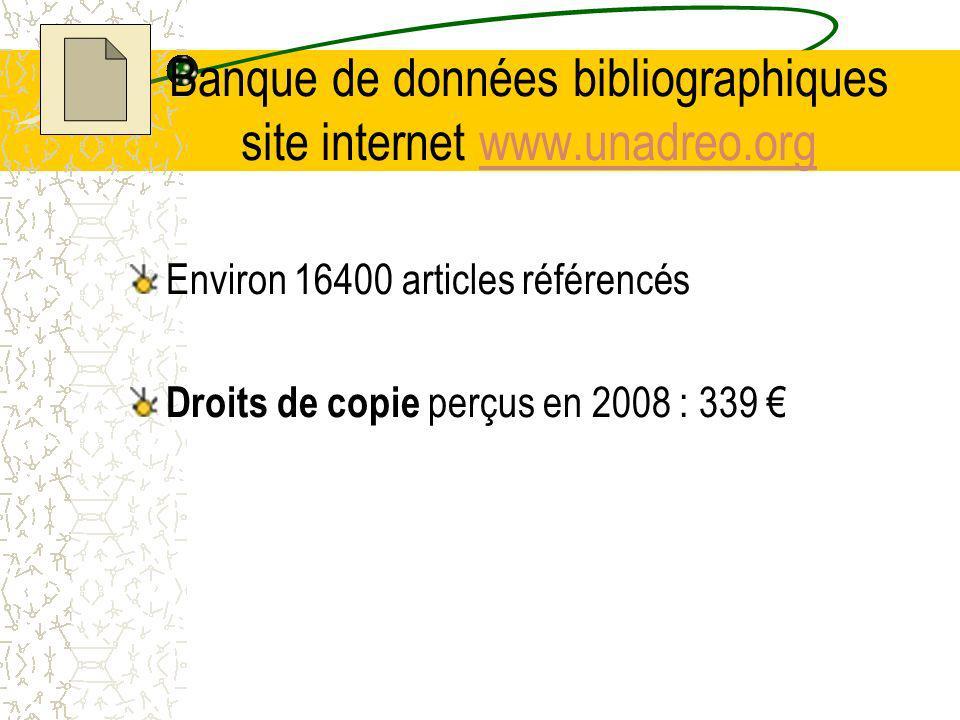 Banque de données bibliographiques site internet www.unadreo.orgwww.unadreo.org Environ 16400 articles référencés Droits de copie perçus en 2008 : 339