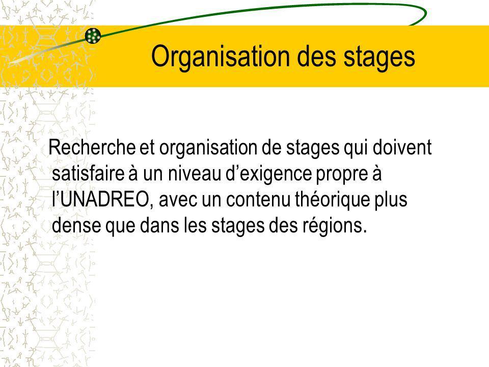 Organisation des stages Recherche et organisation de stages qui doivent satisfaire à un niveau dexigence propre à lUNADREO, avec un contenu théorique plus dense que dans les stages des régions.