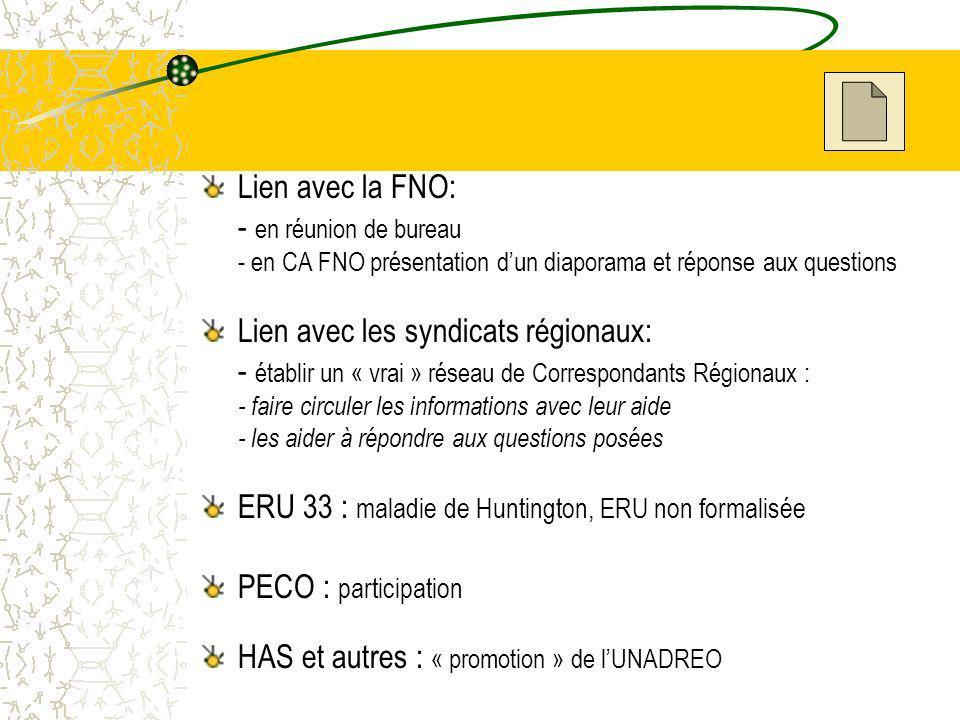 Lien avec la FNO: - en réunion de bureau - en CA FNO présentation dun diaporama et réponse aux questions Lien avec les syndicats régionaux: - établir un « vrai » réseau de Correspondants Régionaux : - faire circuler les informations avec leur aide - les aider à répondre aux questions posées ERU 33 : maladie de Huntington, ERU non formalisée PECO : participation HAS et autres : « promotion » de lUNADREO