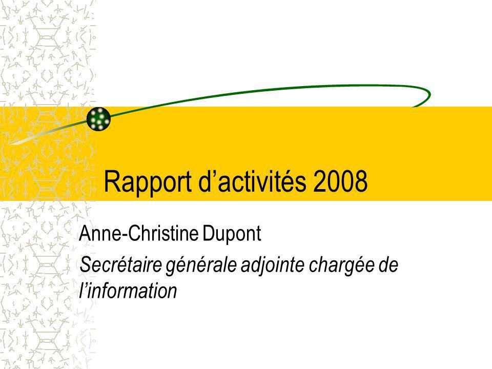 Rapport dactivités 2008 Anne-Christine Dupont Secrétaire générale adjointe chargée de linformation