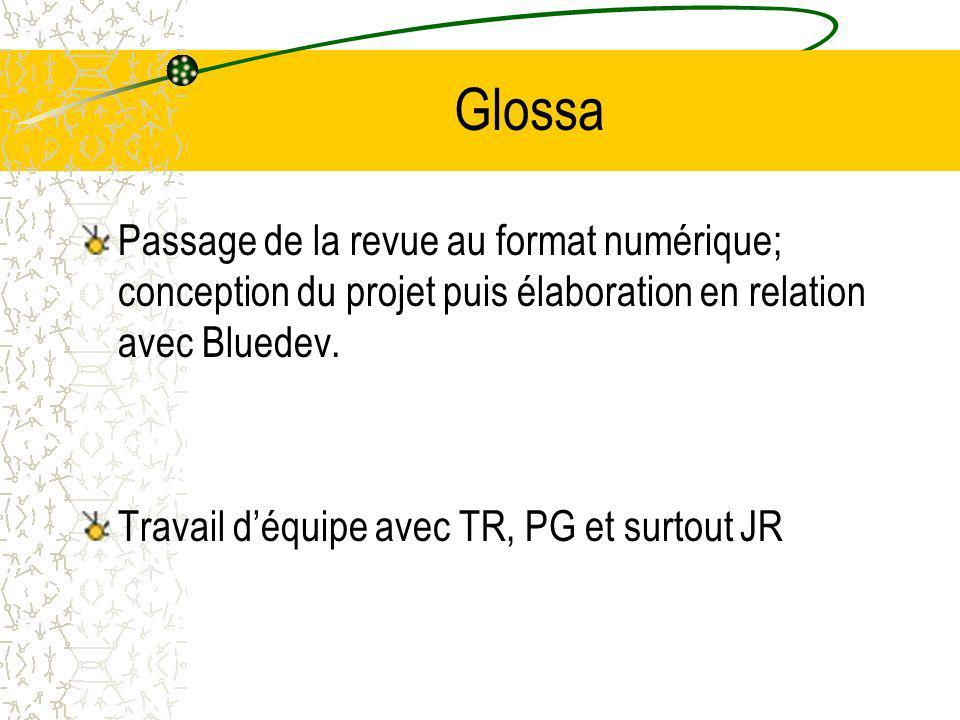 Glossa Passage de la revue au format numérique; conception du projet puis élaboration en relation avec Bluedev.