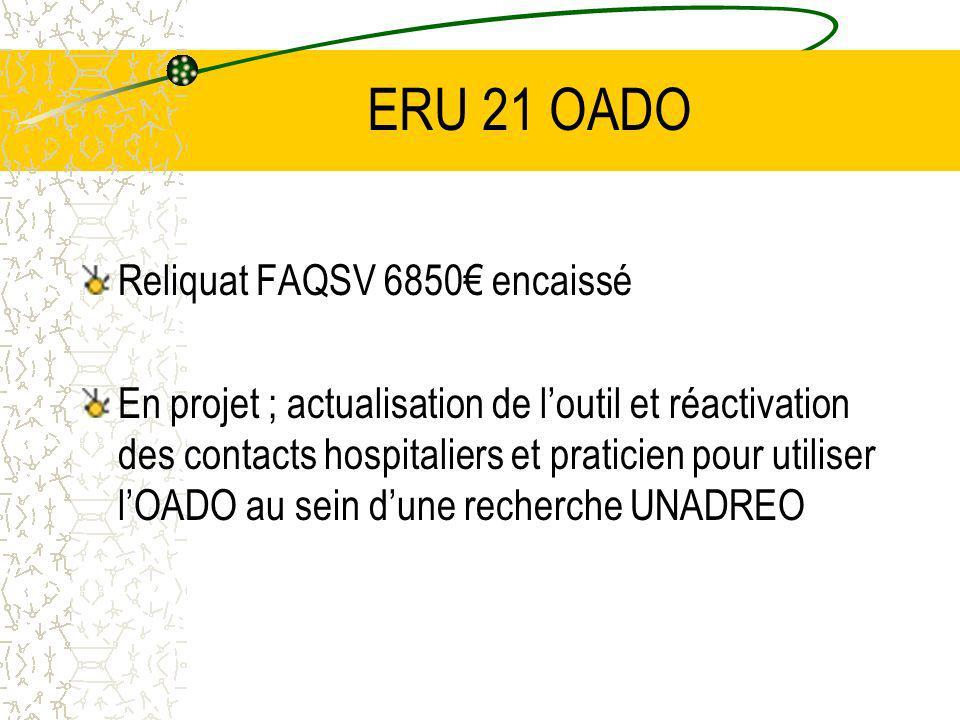 ERU 21 OADO Reliquat FAQSV 6850 encaissé En projet ; actualisation de loutil et réactivation des contacts hospitaliers et praticien pour utiliser lOADO au sein dune recherche UNADREO