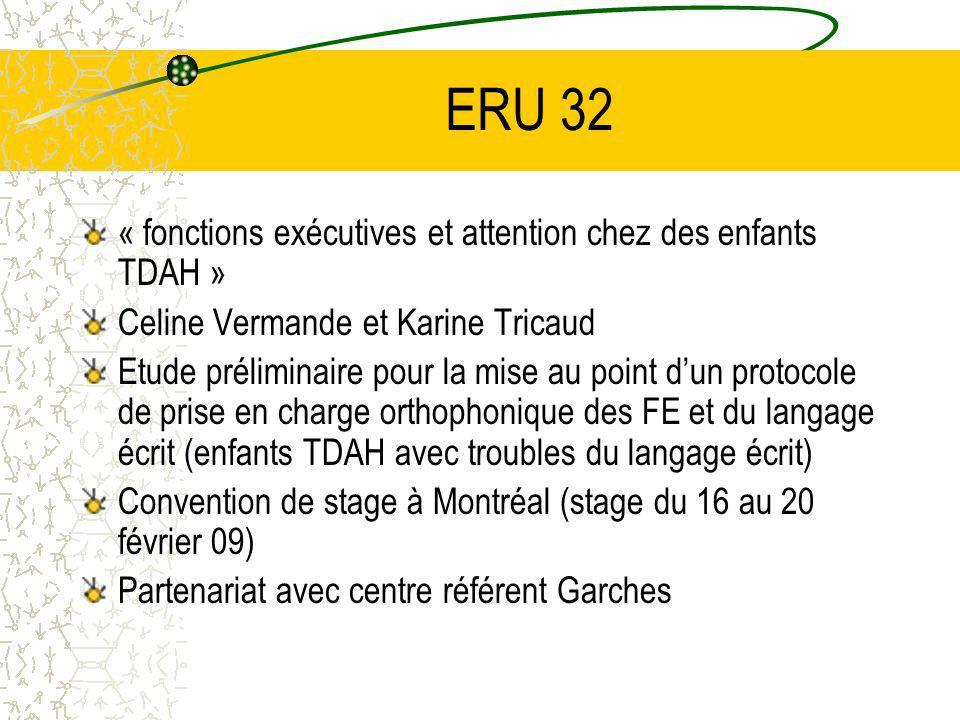 ERU 32 « fonctions exécutives et attention chez des enfants TDAH » Celine Vermande et Karine Tricaud Etude préliminaire pour la mise au point dun protocole de prise en charge orthophonique des FE et du langage écrit (enfants TDAH avec troubles du langage écrit) Convention de stage à Montréal (stage du 16 au 20 février 09) Partenariat avec centre référent Garches