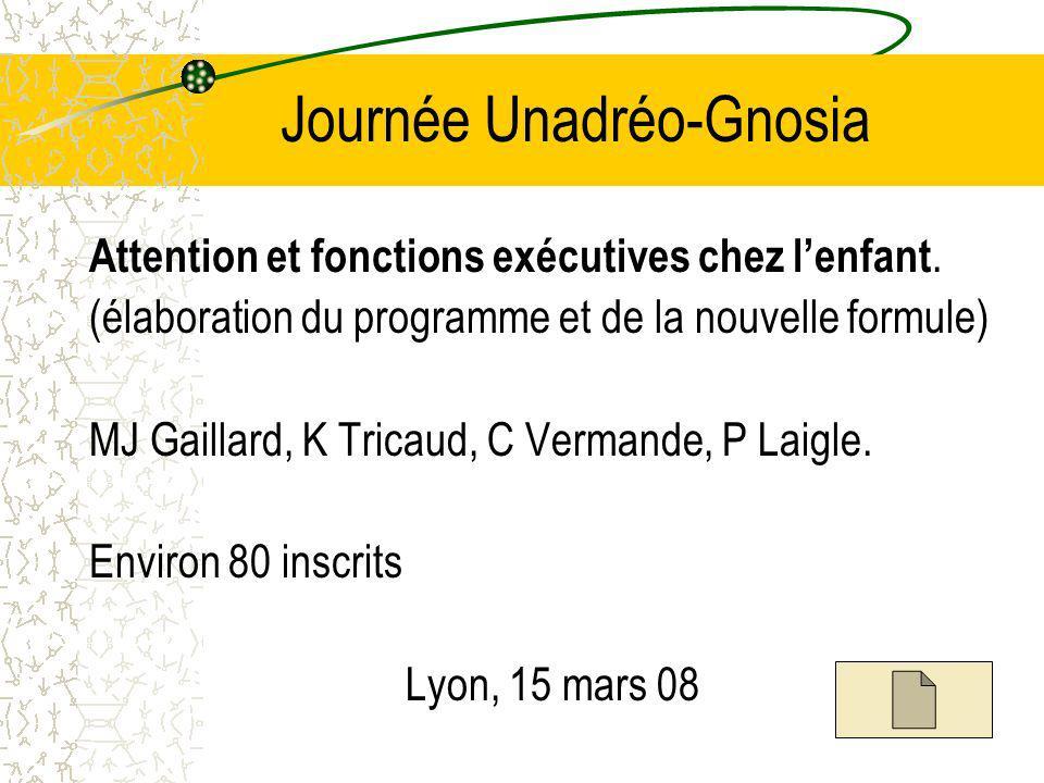 Journée Unadréo-Gnosia Attention et fonctions exécutives chez lenfant.