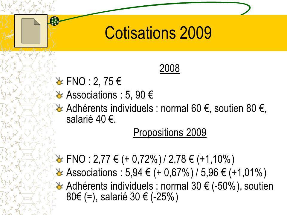Cotisations 2009 2008 FNO : 2, 75 Associations : 5, 90 Adhérents individuels : normal 60, soutien 80, salarié 40.