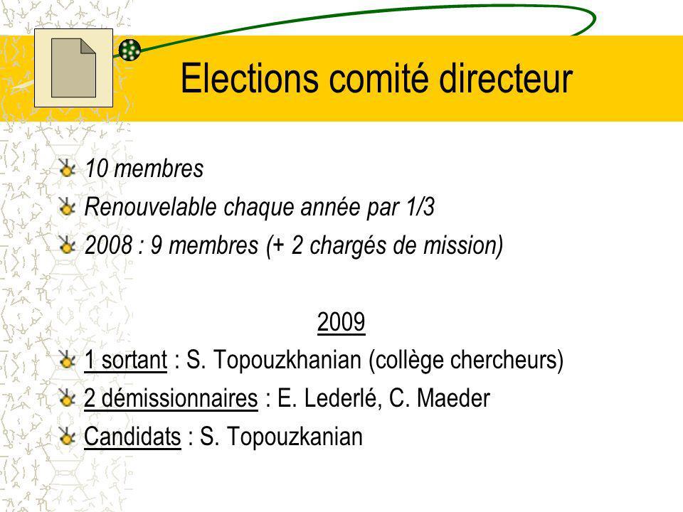 Elections comité directeur 10 membres Renouvelable chaque année par 1/3 2008 : 9 membres (+ 2 chargés de mission) 2009 1 sortant : S.