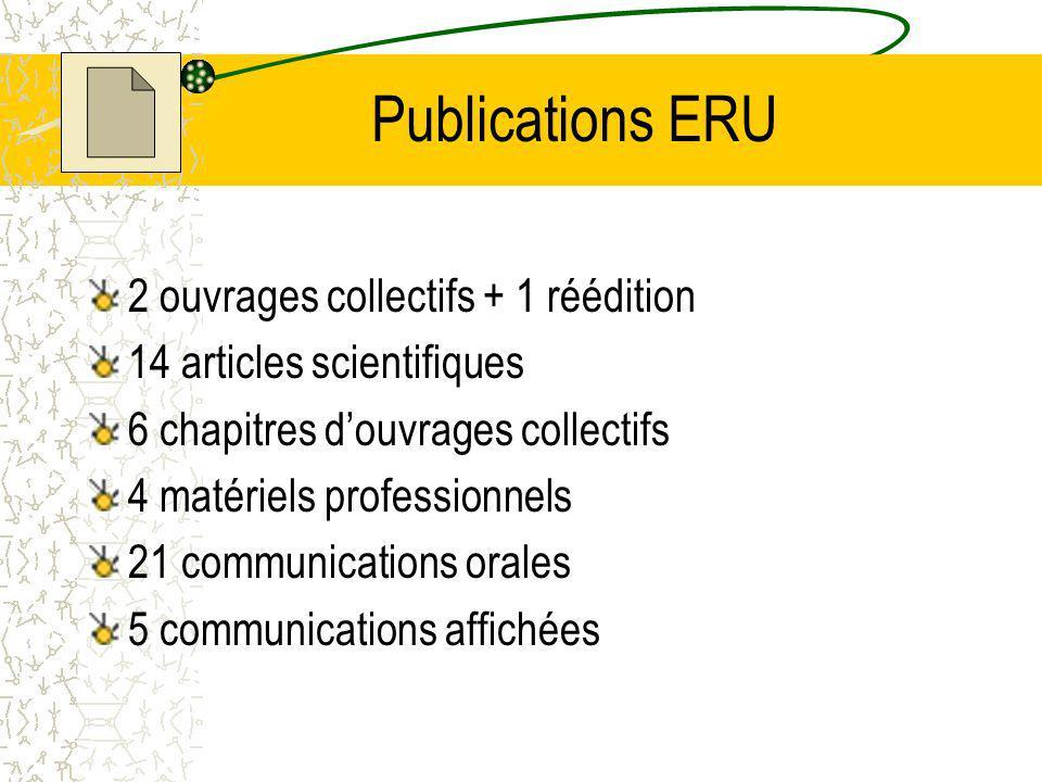 Publications ERU 2 ouvrages collectifs + 1 réédition 14 articles scientifiques 6 chapitres douvrages collectifs 4 matériels professionnels 21 communications orales 5 communications affichées