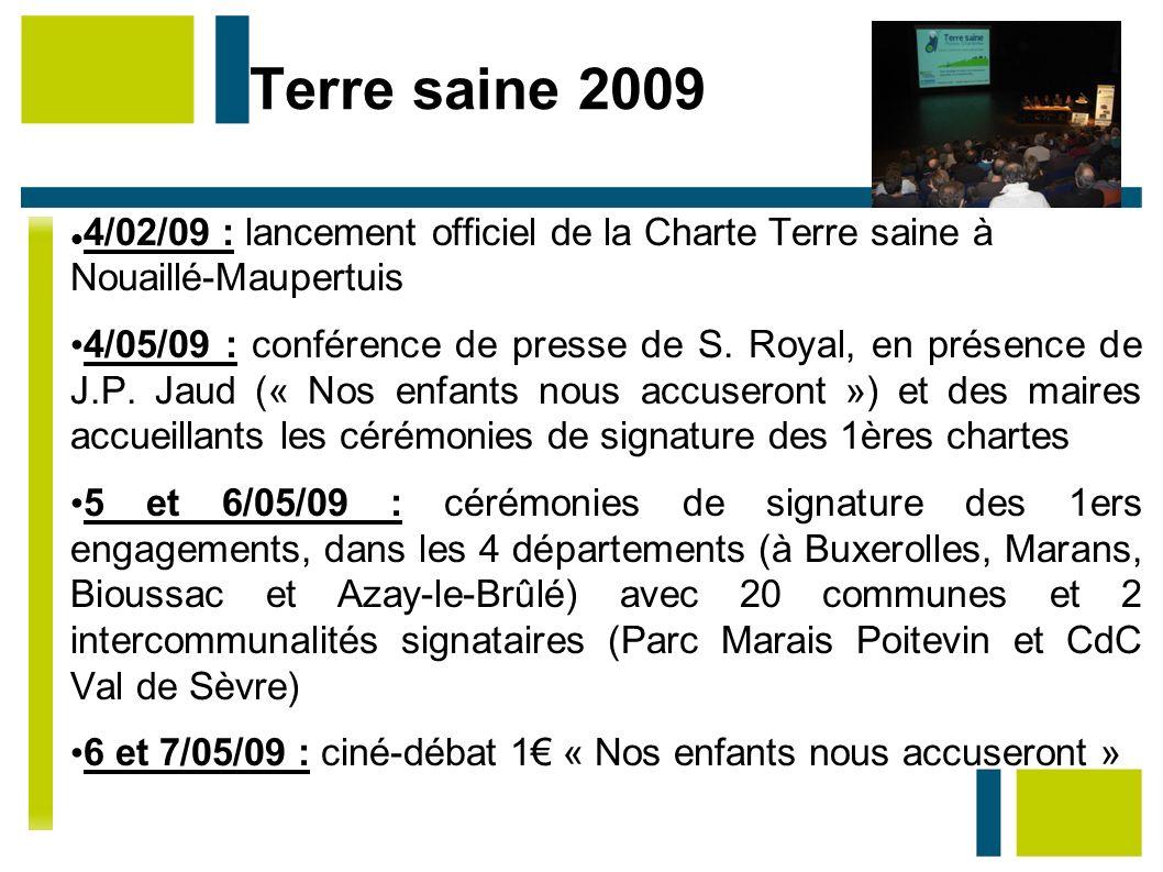 Terre saine 2009 Au 5/05/09: – 22 communes engagées et 2 intercommunalités Aujourd hui: – entre 40 et 50 communes engagées (attente des délibérations avant de valider l engagement)
