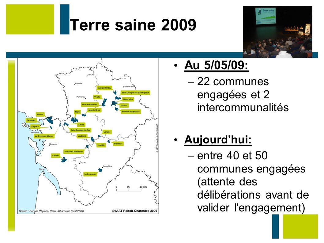 Terre saine 2009 Au 5/05/09: – 22 communes engagées et 2 intercommunalités Aujourd'hui: – entre 40 et 50 communes engagées (attente des délibérations